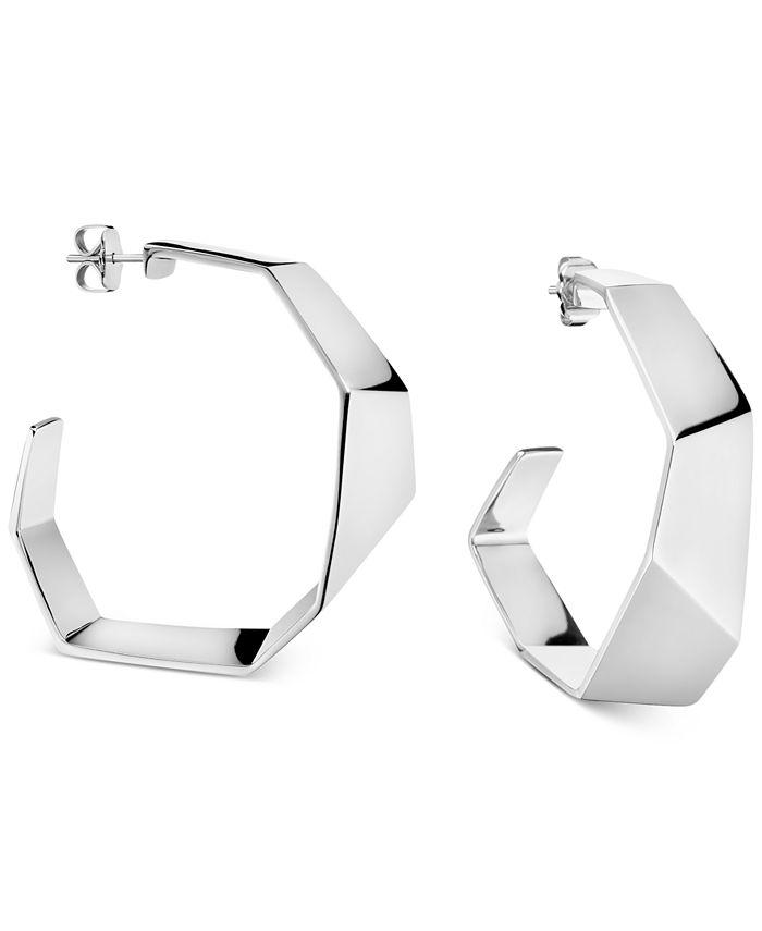 Calvin Klein - Origami Hoop Earrings in Silver-Tone