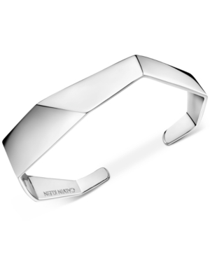 Calvin Klein Angled Cuff Bracelet in Silver-Tone
