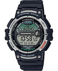 Men's Digital Fishing Gear Black Resin Strap Watch 47mm