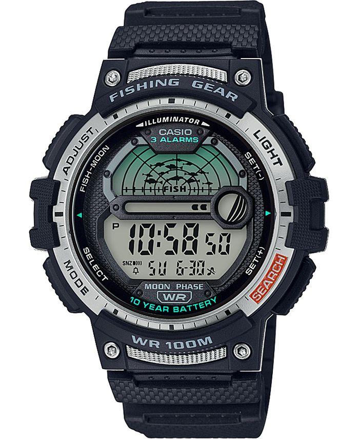 Casio - Men's Digital Fishing Gear Black Resin Strap Watch 47mm