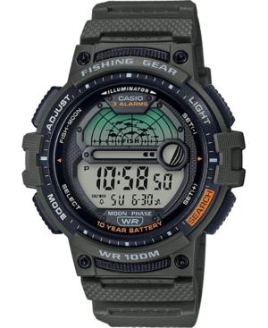 Men's Digital Fishing Gear Green Resin Strap Watch 47mm