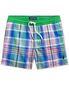 폴로 랄프로렌 남아용 수영복 하의 Polo Ralph Lauren Little Boys Traveler Plaid Swim Trunks,Royal Multi