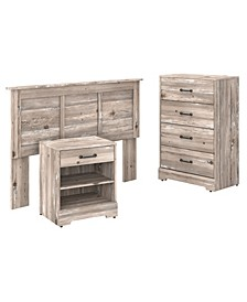 River Brook Full/Queen Size Headboard, Chest of Drawers and Nightstand Bedroom Set