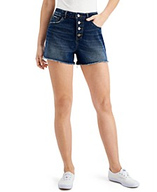 Cotton Button-Fly Denim Shorts