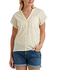 Lucky Brand Embroidered Contrast Top
