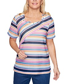 Petite Petal Pushers Striped Knit Top