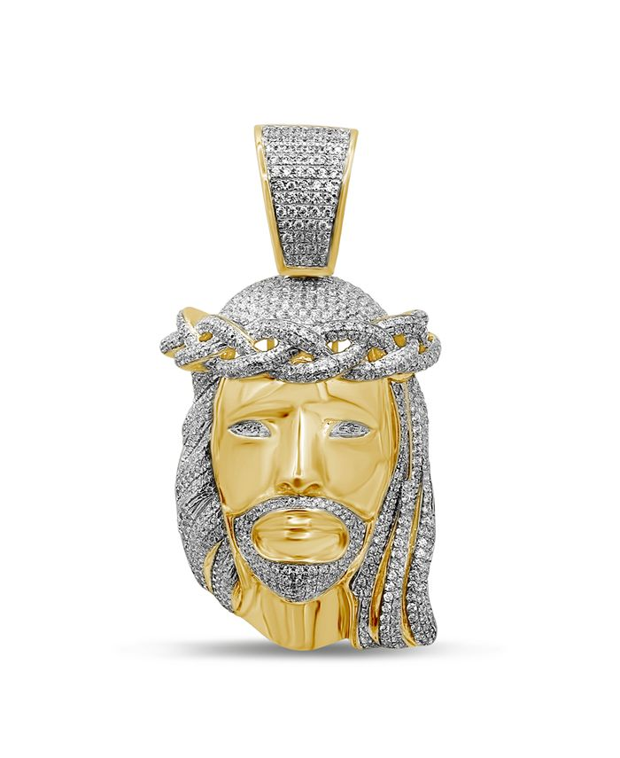 Macy's - Men's Diamond (1-1/2 ct. t.w.) Christ Head Pendant in 14K Yellow Gold over Sterling Silver