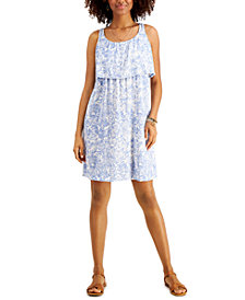 Style & Co Floral-Printed Popover Midi Dress, Created for Macy's