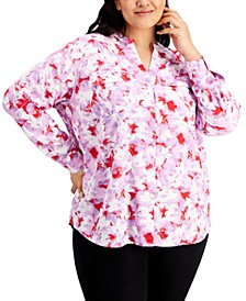 Plus Size Floral-Print Button-Down Top