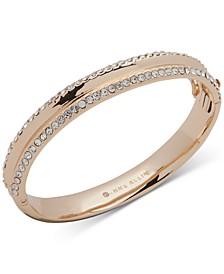 Gold-Tone Crystal Hinged Bangle Bracelet