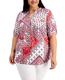 Plus Size Paisley-Print Button-Down Top