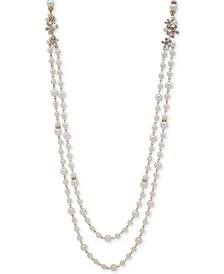 """Gold-Tone Imitation Pearl & Crystal 42"""" Two-Row Strand Necklace"""