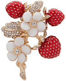 Gold-Tone Crystal Strawberry Pin