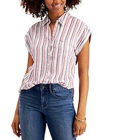 Striped Button-Front Shirt, Created for Macy's
