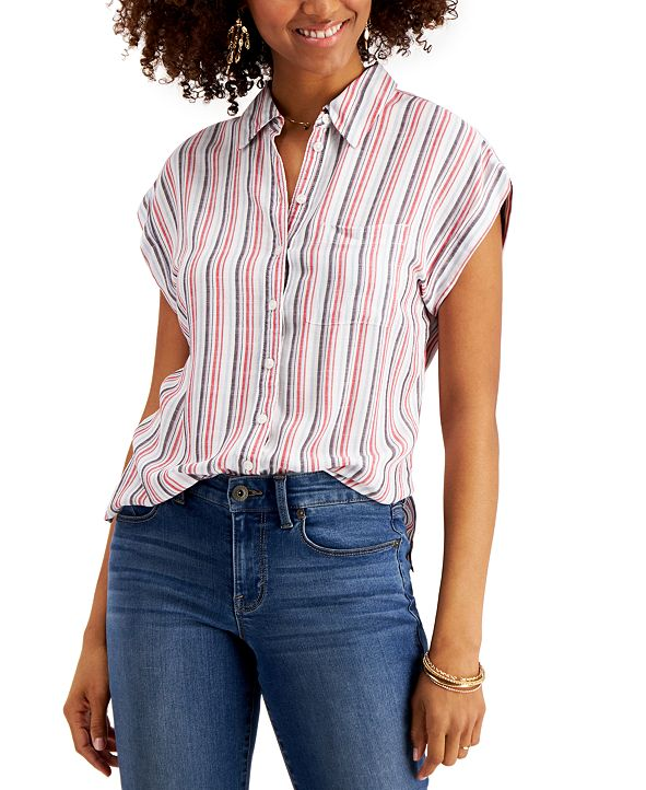 Style & Co Striped Button-Front Shirt, Created for Macy's