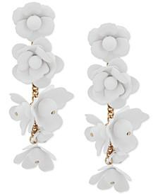 Gold-Tone Flower Drop Earrings