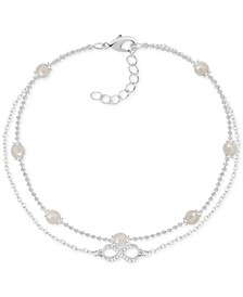 Imitation Pearl & Crystal Infinity Double Row Ankle Bracelet in Fine Silver-Plate