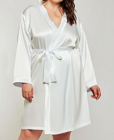 Plus Size Elegant Satin Wrap Robe, Online Only