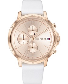 Women's Chronograph White Leather Strap Watch 38mm
