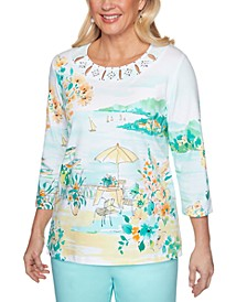 Petite Spring Lake Scenic Printed Top