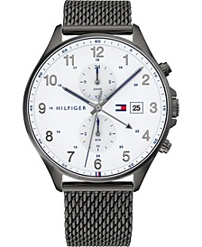 Men's Chronograph Gunmetal Mesh Bracelet Watch 44mm, Created for Macy's