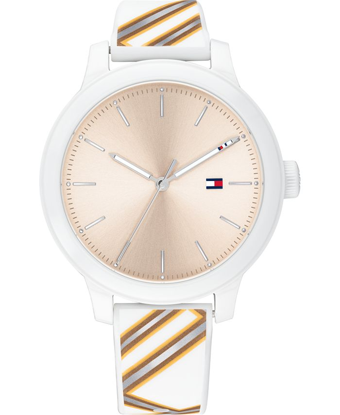 Tommy Hilfiger - Women's White Silicone Strap Watch 38mm