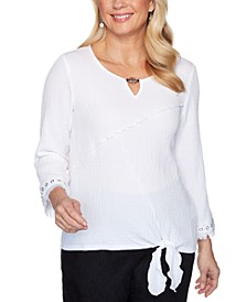 Petite Checkmate Tie-Front Bubble Gauze Top