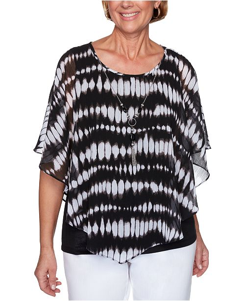 Alfred Dunner Petite Checkmate Tie-Dyed Flutter-Sleeve Top