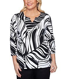 Petite Checkmate Tropical Leaves-Print Top