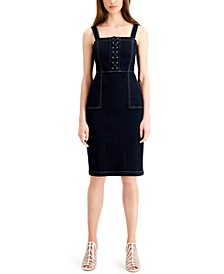 INC Lace-Up Denim Dress, Created for Macy's