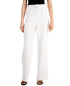 INC Sailor-Button Wide-Leg Pants, Created for Macy's