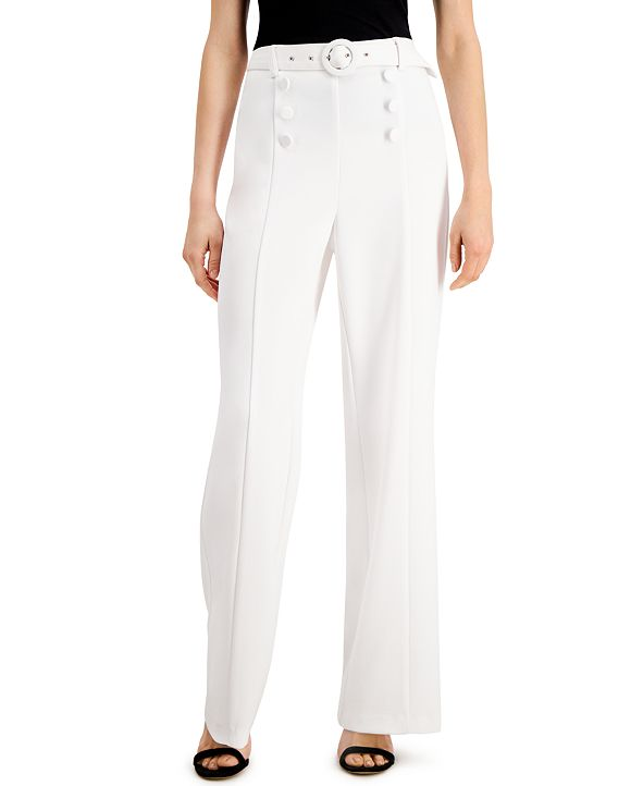 INC International Concepts INC Sailor-Button Wide-Leg Pants, Created for Macy's