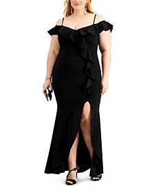 Plus Size Ruffled Off-The-Shoulder Gown
