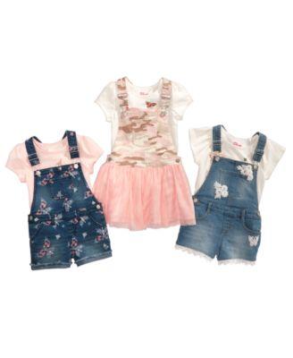Little Girls Butterfly Denim Shortalls, Created for Macy's