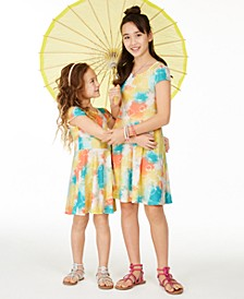 Little & Big Girls Tie-Dye Heart-Print Dress Separates, Created for Macy's