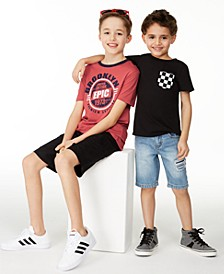 Big Boys Brooklyn T-Shirt & Black Cargo Shorts and Toddler & Little Boys Checker Pocket T-Shirt & Capri Destroyed Denim Shorts, Created for Macy's