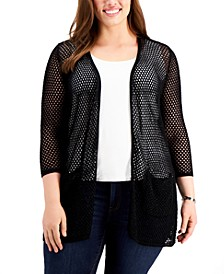 Plus Size Open-Knit Sparkle Cardigan