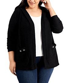 Plus Size Grommet-Pocket Hoodie Cardigan