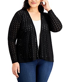 Plus Size Eyelet Open-Knit Cardigan