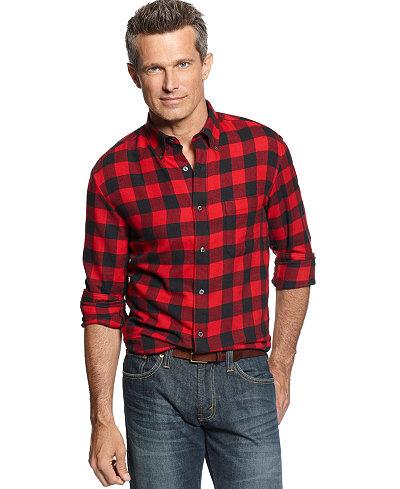 John ashford long sleeve buffalo check flannel shirt for Buffalo check flannel shirt