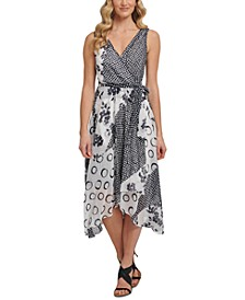 Double-V Mixed Print Faux-Wrap Dress