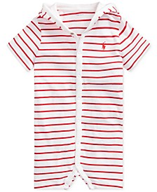 Baby Boys Striped Cotton Hooded Shortall