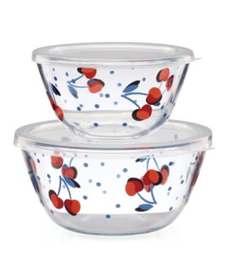 new york Vintage Cherry Dot Round Serve and Store, S/2