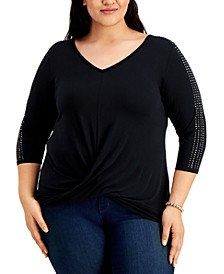 Plus Size Embellished Twist-Front Top