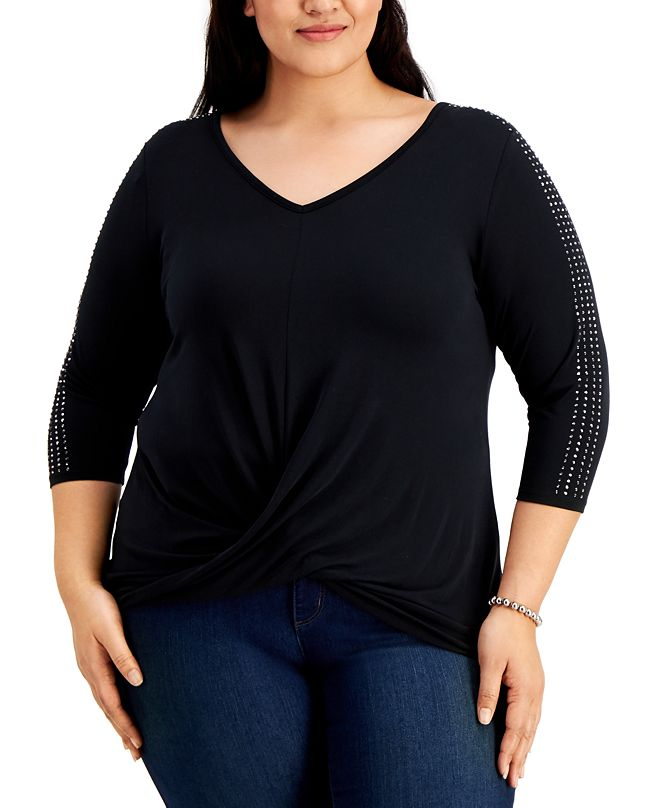 Belldini Plus Size Embellished Twist-Front Top