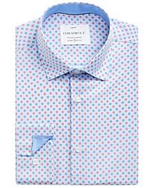 Con.Struct Men's Slim-Fit Non-Iron Performance Stretch Blue Mini Flower Cooling Comfort Dress Shirt