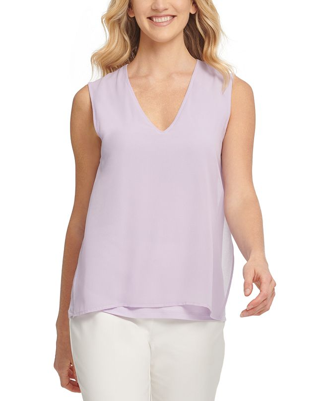 DKNY Sleeveless Layered-Look Top