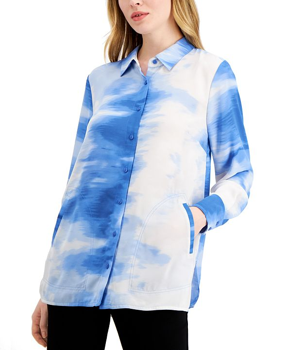 Alfani Printed Oversized Shirt, Created for Macy's