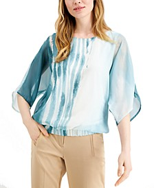 Petite Printed Wing-Sleeve Top, Created for Macy's
