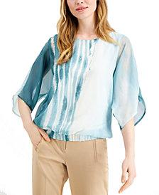 Alfani Petite Printed Wing-Sleeve Top, Created for Macy's